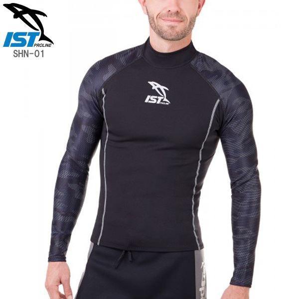 ウェットスーツ タッパー/インナー 〔メンズ ブラック XLサイズ〕 1.5mm 保温性 『ISTPROLINE SHN-01』 〔ダイビング〕