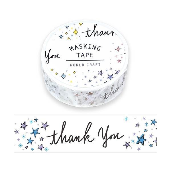 ついに再販開始 マスキングテープ 舗 ワールドクラフト thank you MT15-027 15mm×7m