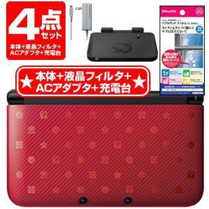新品 4点セット ニンテンドー3DS LL本体 New スーパーマリオブラザーズ 2 パック+液晶フィルタ+ACアダプタ+充電台