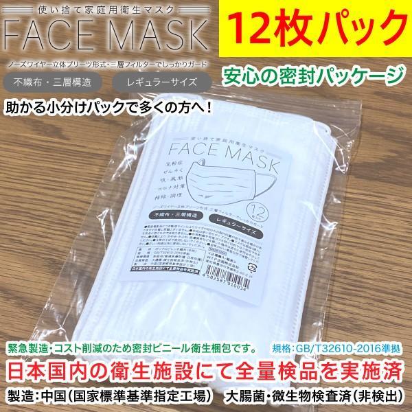 マスク12枚パック 不織布三層構造 家庭用使い捨て衛生マスク 飛沫対策 感染予防 花粉症/レギュラーサイズ 白色 /メール便OK 愛知県より迅速発送|wtpkikaku|02