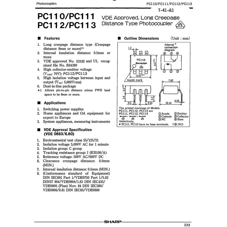 シャープ(SHARP) PC111 Long Creepage Distance Type フォトカプラ PC111 (10個セット)|xcellentjo|02