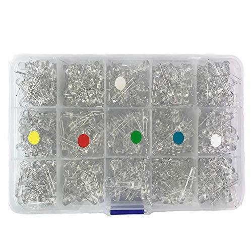 Bestgle発光ダイオード5mm 500ピース透明LEDセットF5 LED電子部品バッグ LED電球 5色ダイオードセ xcellentjo