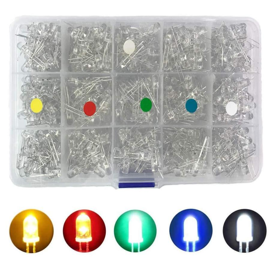 Bestgle発光ダイオード5mm 500ピース透明LEDセットF5 LED電子部品バッグ LED電球 5色ダイオードセ xcellentjo 08