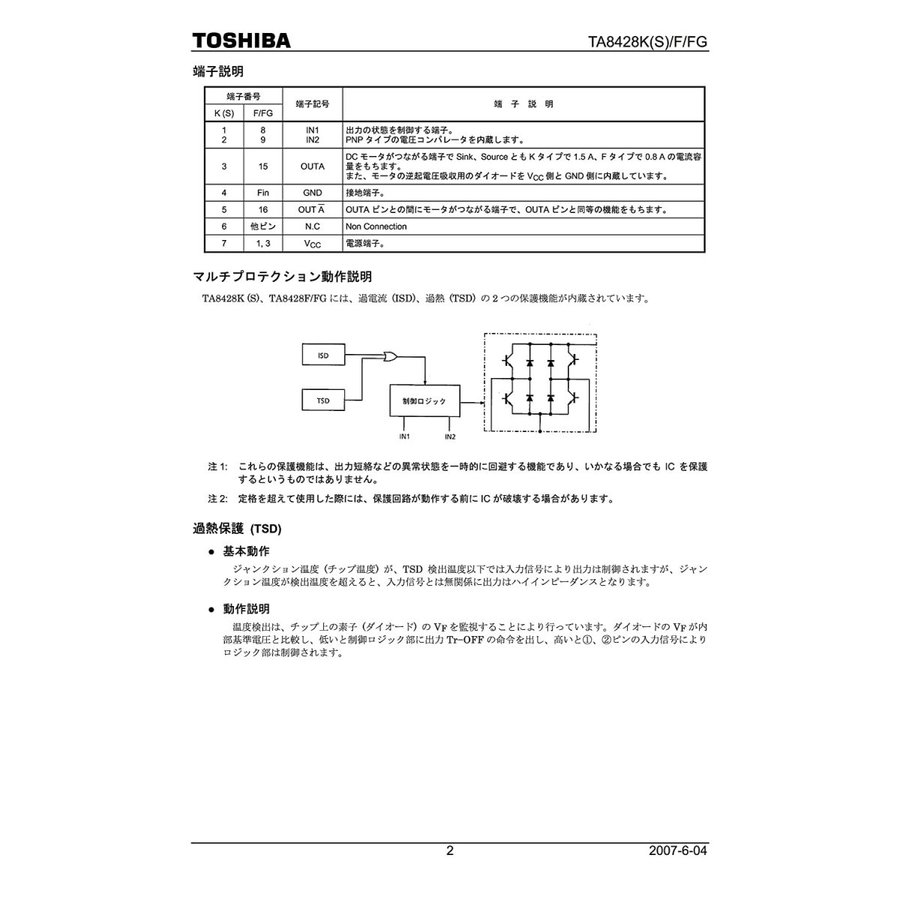 TOSHIBA(東芝) DC モータ用 フルブリッジドライバ 7V〜27V 1.5A TA8428K|xcellentjo|05