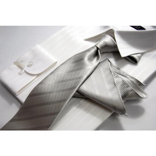 ネクタイ シルク 結婚式 メンズ シルバー系ネクタイ&ポケットチーフセット 礼装 フォーマル y-cravat-ueda 03