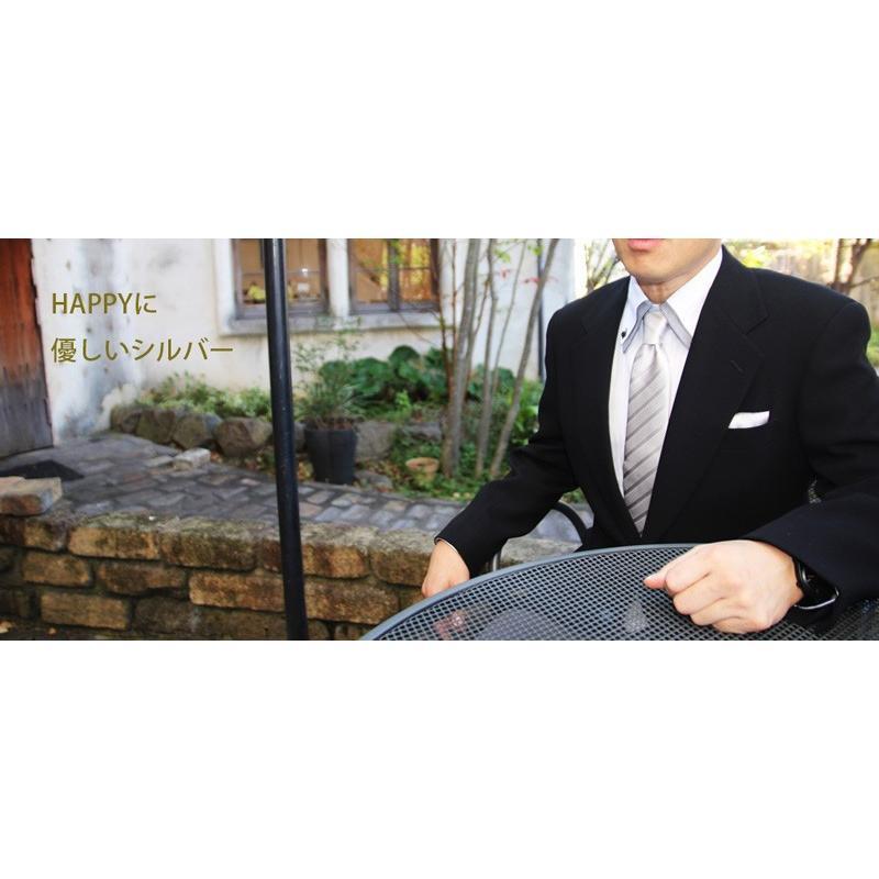 ネクタイ シルク 結婚式 メンズ シルバー系ネクタイ&ポケットチーフセット 礼装 フォーマル y-cravat-ueda 06