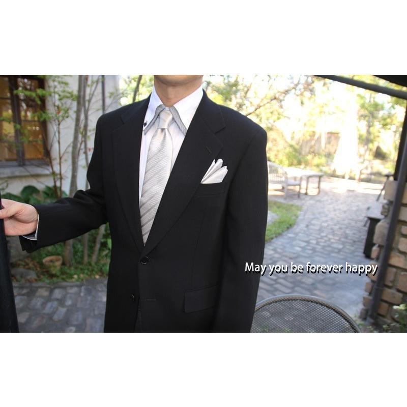 ネクタイ シルク 結婚式 メンズ シルバー系ネクタイ&ポケットチーフセット 礼装 フォーマル y-cravat-ueda 07