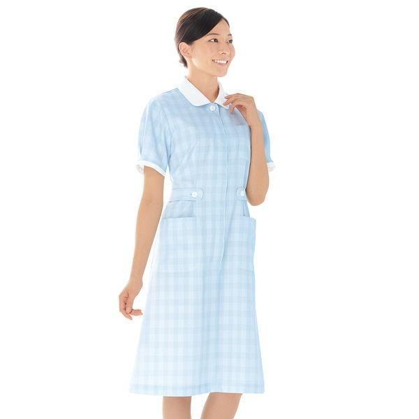 KAZEN ワンピース半袖 (ナースワンピース) 医療白衣 サックスブルー(水色) LL 278-81 (直送品)