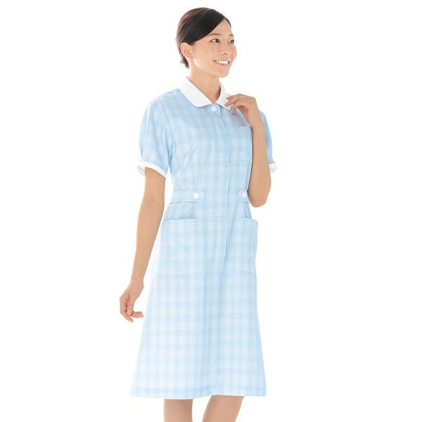 KAZEN ワンピース半袖 (ナースワンピース) 医療白衣 サックスブルー(水色) S 278-81 (直送品)