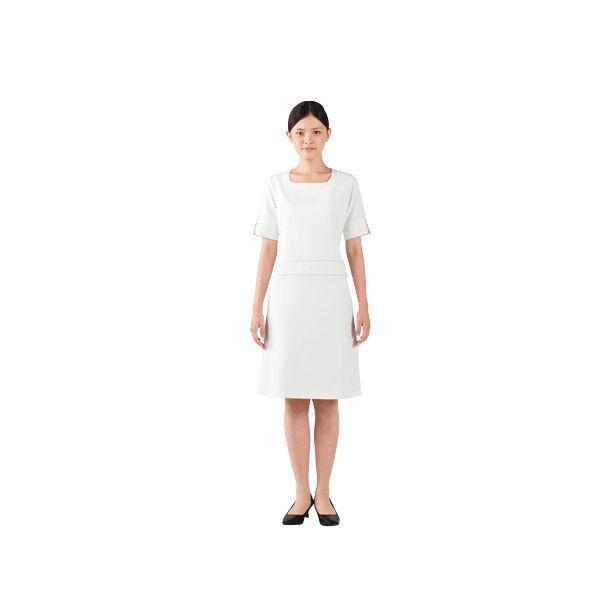 住商モンブラン スクエアネックワンピース(半袖) ナースワンピース 医療白衣 オフ白/ベージュ LL HSS4702-1(直送品)
