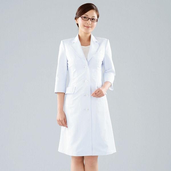 KAZEN レディス診察衣(ドクターコート) 医療白衣 長袖 ホワイト シングル L 124-10(直送品)