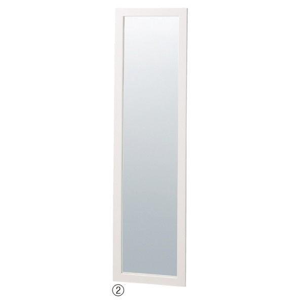 店研創意 木製スリム立掛けミラー(鏡厚5mm) ホワイト 5880-124(直送品)