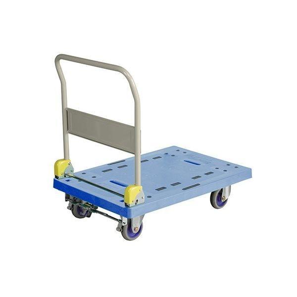 樹脂台車 (ハンドル折畳式)フットブレーキ付 耐荷重300kg 935×600×970mm NP-306 1個 62-1619-51 金沢車輌(直送品)
