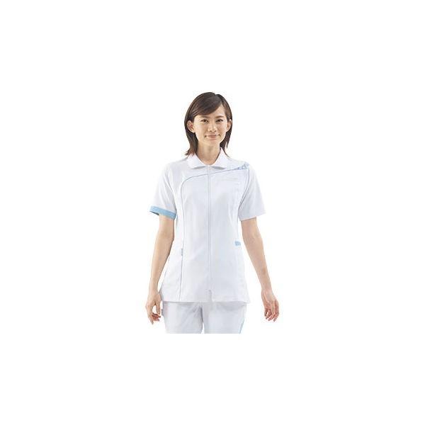 住商モンブラン レディスジャケット(半袖) ナースジャケット 医療白衣 ホワイト/ブルーフラワー S CHM054-0104(直送品)