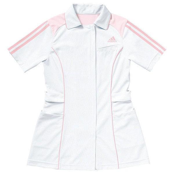 KAZEN adidas(アディダス)レディスジャケット 医療白衣 半袖 ホワイト+ピンク L SMS002 (直送品)