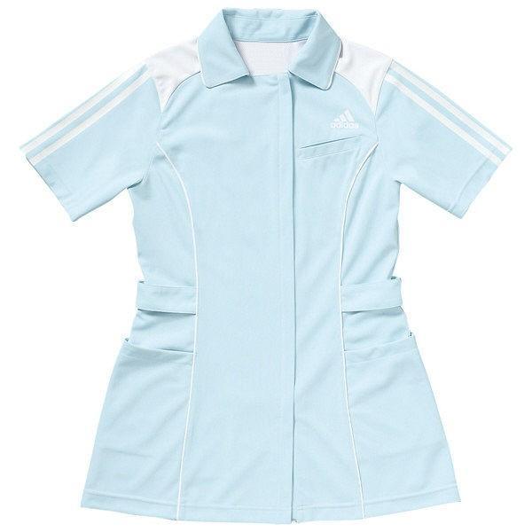 KAZEN adidas(アディダス)レディスジャケット 医療白衣 半袖 サックス 2XOT SMS002 (直送品)