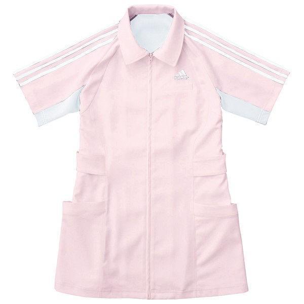 KAZEN adidas(アディダス)レディスジャケット 医療白衣 半袖 ピンク M SMS003 (直送品)