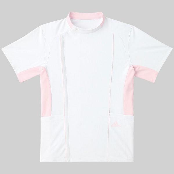 KAZEN adidas(アディダス)ジャケット 医療白衣 男女兼用 半袖 ホワイト+ピンク S SMS620-13(直送品)