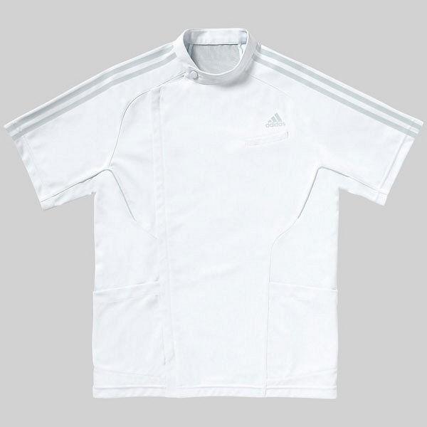KAZEN adidas(アディダス)メンズジャケット 医療白衣 医療白衣 医療白衣 半袖 ホワイト+グレー M SMS601-17(直送品) ca3