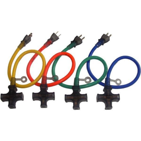 アプロスショートタップ2芯 0.5m 4色アソートセット品 4色アソートセット品 2ST-05YBGO 1セット(80本入:4色×各5本×4箱) 熱田資材(直送品)