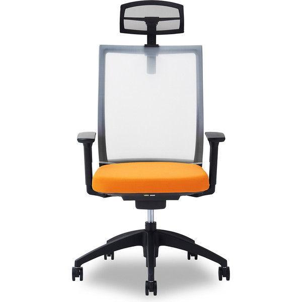 関家具 オフィスチェア Air01-ヘッドBK/ハンガー無/背WH/肘可動/座OR オレンジ 238527 1脚 (直送品) (直送品)