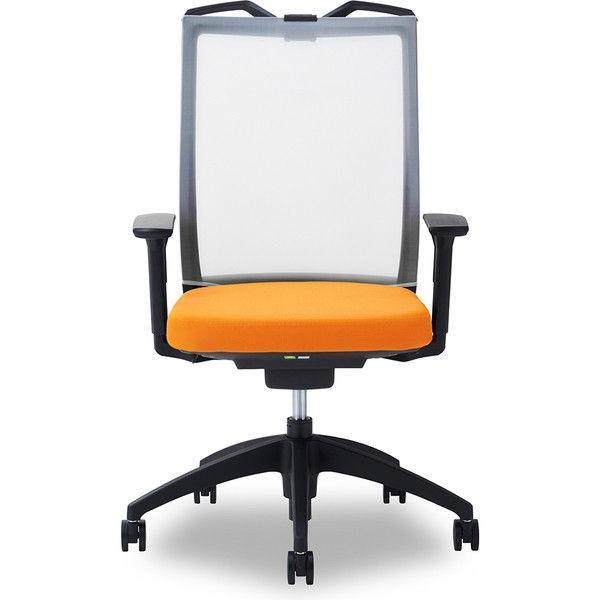 関家具 オフィスチェア Air01-ヘッド無/ハンガー有/背WH/肘可動/座OR オレンジ 238531 1脚 (直送品)
