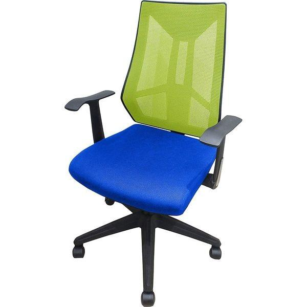 ネットフォース オフィスチェア メッシュチェア エクリプス 背:ライトグリーン×座面:ブルー 背:ライトグリーン×座面:ブルー ELS-1-A-AW 1脚(直送品)