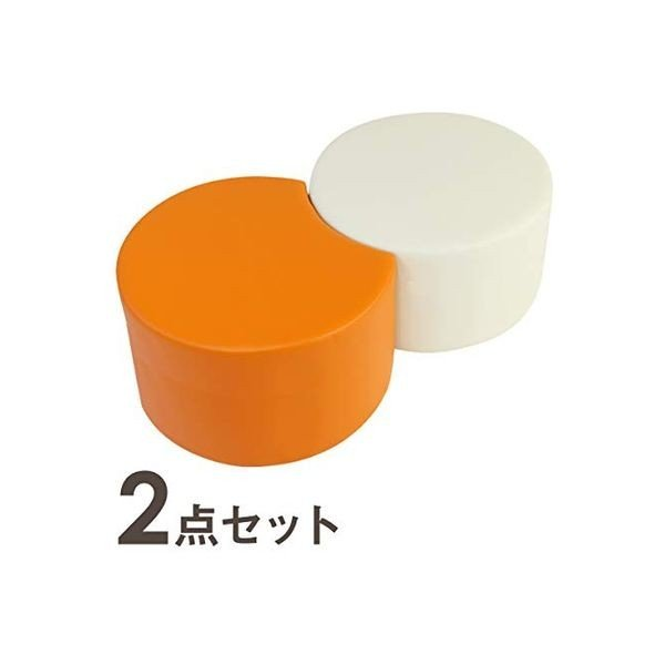 ネットフォース カラ ロビーチェア ロースツール L 丸形 丸形 アイボリー 1台 三日月形 オレンジ 1台 幅970mm 1セット2台入(直送品)