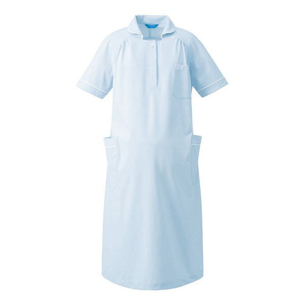 KAZEN マタニティワンピース半袖 医療白衣 サックスxホワイト L 176-21(直送品)