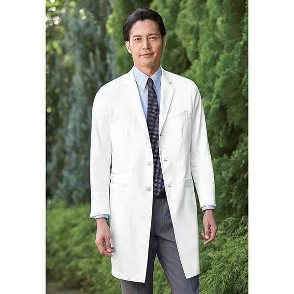 KAZEN メンズ診察衣 医療白衣 長袖 ホワイト シングル LL KZN210-10(直送品)