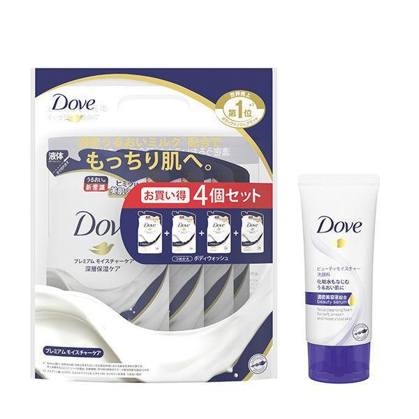 初回限定 ダヴ Dove ボディウォッシュ ボディソープ 日本 プレミアム 詰め替え 360g×4 セット ビューティモイスチャー洗顔ミニ モイスチャーケア