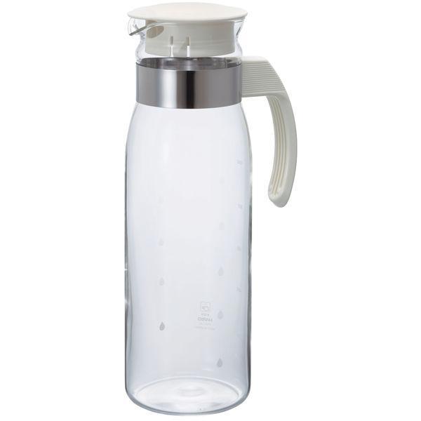 高級品 人気 HARIO 耐熱ガラス製 冷水筒 ポット ピッチャー RPLN-14-OW スリムN オフホワイト 1400ml 1個
