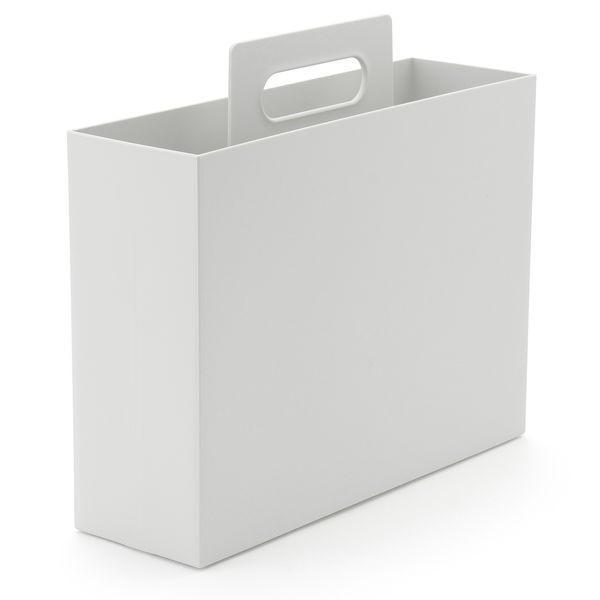 無印良品 ポリプロピレン持ち手付きファイルボックス・スタンダードタイプ・ホワイトグレー 約幅10×奥行32×高さ28.5cm 良品計画