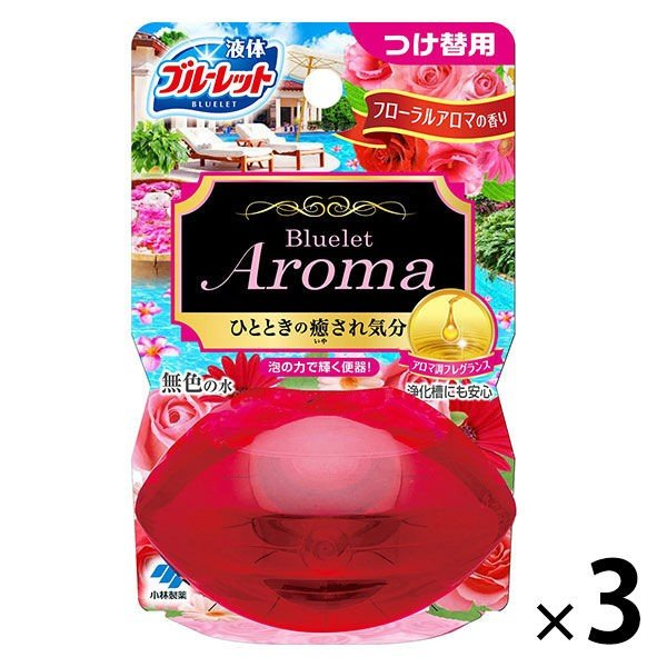 本日限定 液体ブルーレットおくだけ トイレタンク芳香洗浄剤 つけ替え用 返品不可 フローラルアロマの香り 70ml 小林製薬 1セット 3個