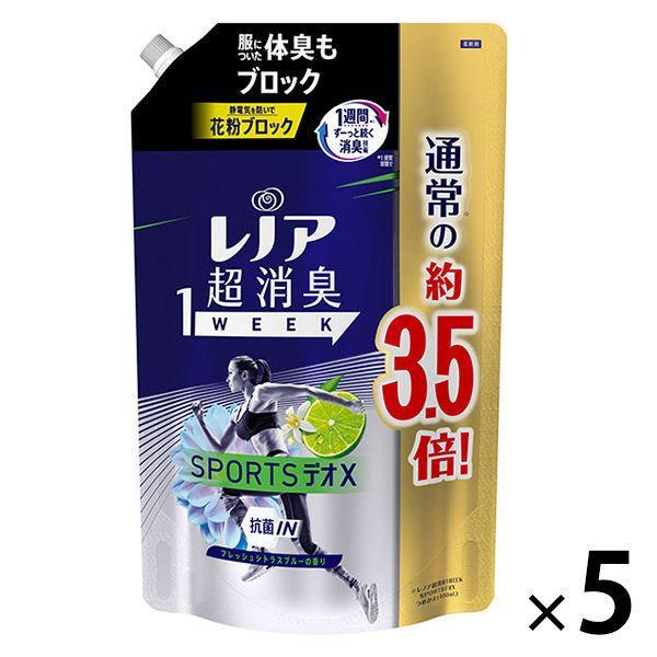 セール レノア 超消臭1WEEK SPORTSデオX フレッシュシトラスブルー 詰め替え G 1390ml 柔軟剤 おすすめ特集 新入荷 流行 5個入 P 1セット