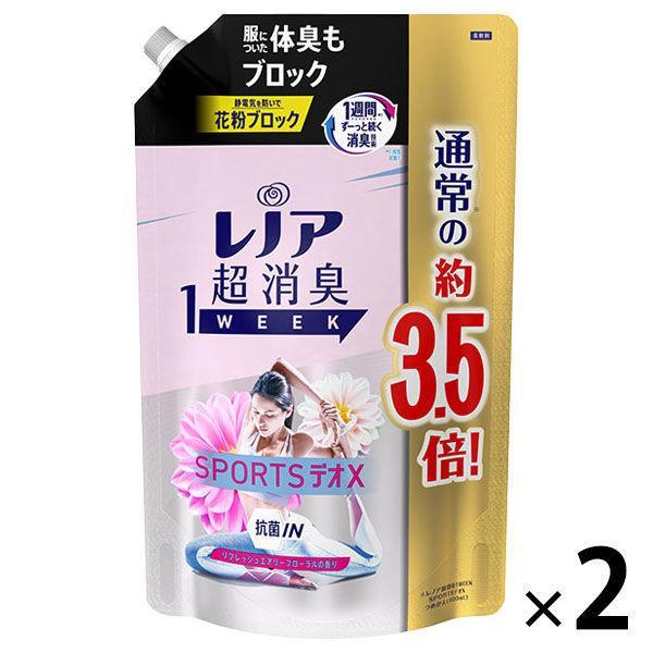 セール レノア 超消臭1WEEK SPORTSデオX リフレッシュエアリーフローラル 1390ml 超激安 1セット G 人気の製品 柔軟剤 2個入 P