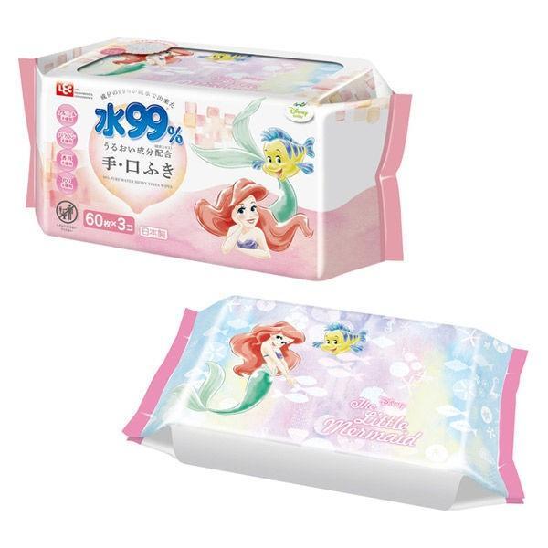 人気 ディズニー 流行 プリンセス アリエル 水99%おでかけ手 60枚入×3個 口ふき 1パック レック