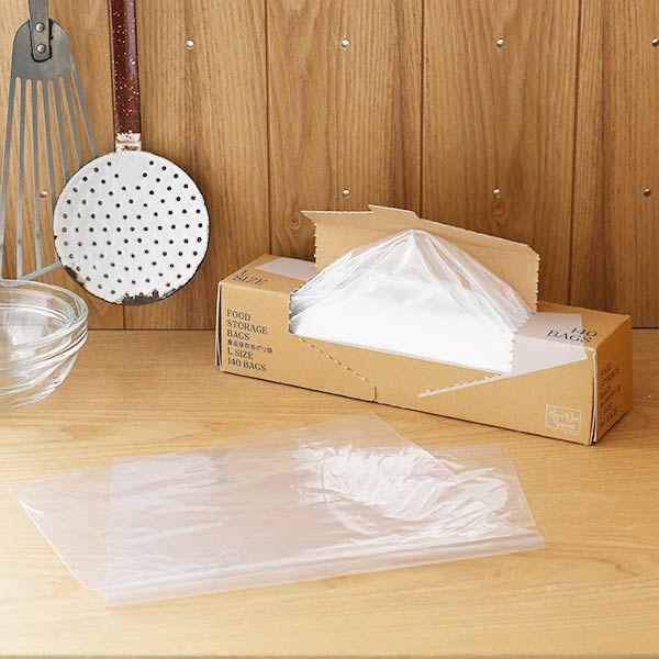 アウトレット ポリ袋 食品保存袋 L 日本メーカー新品 マチ無し 冷凍 ファッション通販 冷蔵対応 140枚入 オリジナル ロハコ ツルツルタイプ 1箱 LOHACO 透明