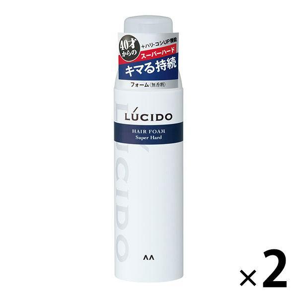 返品不可 LUCIDO ルシード 現金特価 ヘアフォーム スーパーハード メンズ スタイリング剤 マンダム べたつかない 無香料 185g 湿気 2個