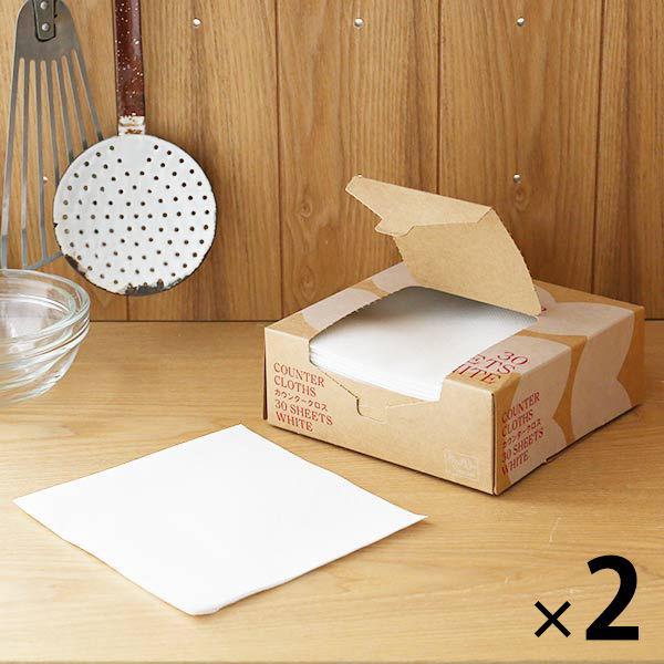 セール 代引き不可 カウンタークロス 使い切りふきん キッチンダスター ハーフサイズ オリジナル ロハコ ホワイト 1セット 30枚×2箱 着後レビューで 送料無料