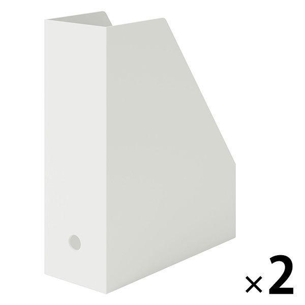 直送商品 新色追加 無印良品 ポリプロピレンスタンドファイルボックスA4用ホワイトグレー 1セット2個約幅10×奥行27.6×高さ31.8cm良品計画