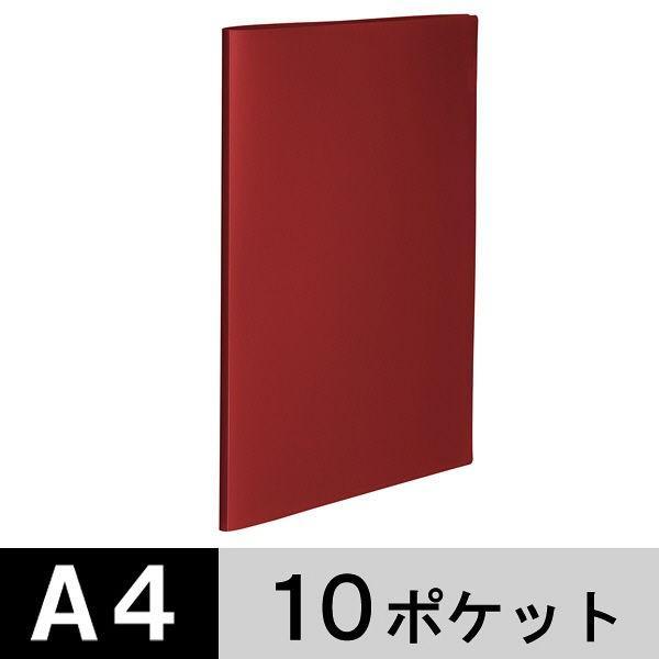 アスクル クリアファイル A4タテ 推奨 10ポケット 商舗 不透明表紙 クリアホルダー 固定式 赤 レッド