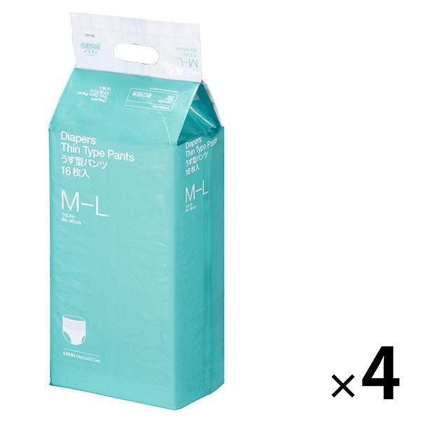 新作続 アスクル×エルモアいちばんうす型パンツ 激安特価品 大人用紙おむつ M〜L 64枚:16枚×4個入 1ケース