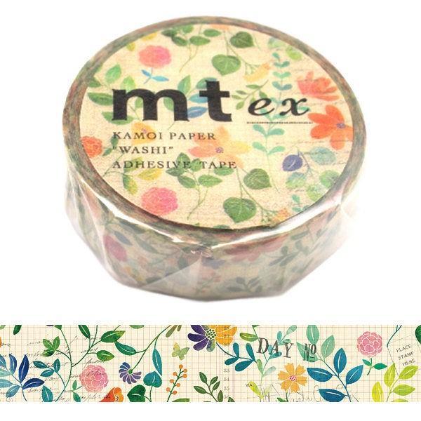 ギフト カモ井加工紙 マスキングテープ mt お求めやすく価格改定 幅15mm ex 水彩花柄