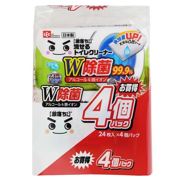 販売 激落ちくん 流せる 除菌 予約販売 99.9% トイレクリーナー 24枚×4個入 レック 1パック 掃除 S00285