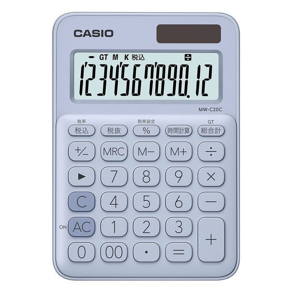 カシオ計算機 カラフル電卓 2020春夏新作 MW-C20C-LB-N 宅送 ペールブルー