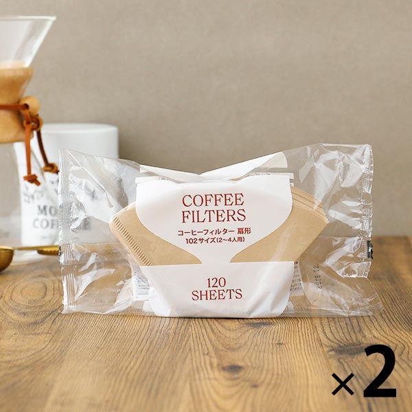 コーヒーフィルター 扇形 102サイズ 無漂白 1セット 120枚入×2袋 大容量 ロハコ ◆在庫限り◆ ついに再販開始 オリジナル LOHACO