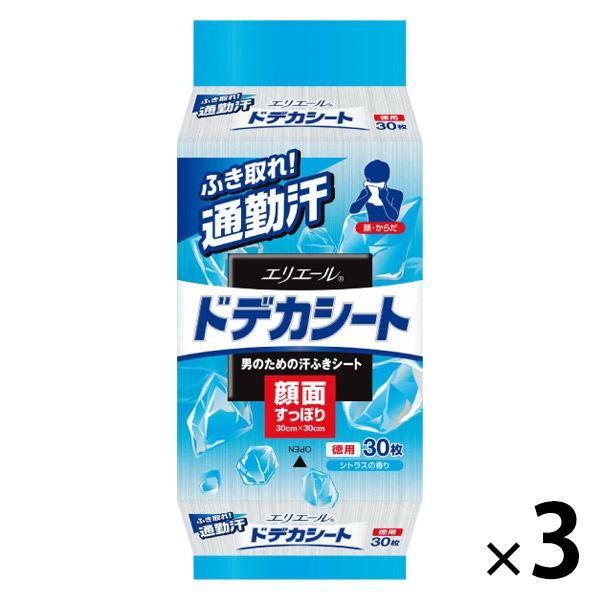 エリエール 日本正規代理店品 for 超安い MEN フェイスシート ドデカシート シトラスの香り 3個 徳用 30枚入