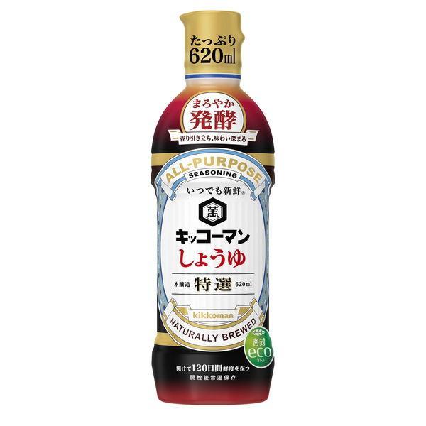 キッコーマン食品 いつでも新鮮 直営店 特選しょうゆ まろやか発酵 1本 620ml 2020新作 醤油