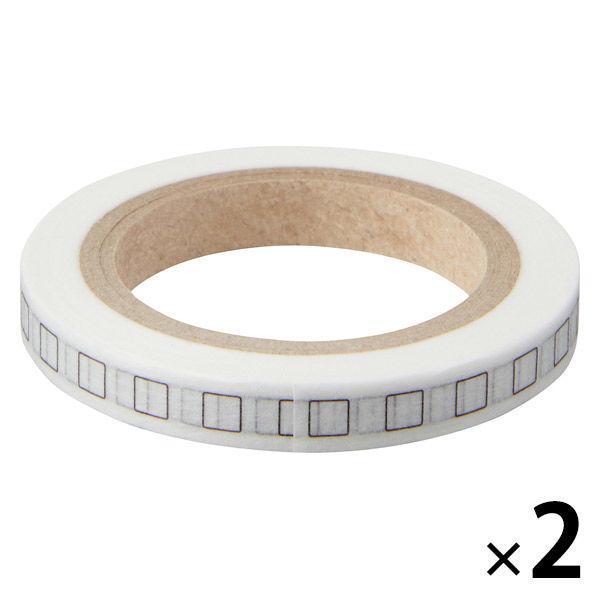 無印良品 ミシン目入りマスキングテープ チェックボックス 初売り 9M巻き 在庫一掃売り切りセール 良品計画 ミシン目ピッチ12mm 2個